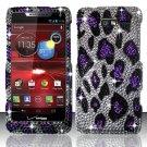 Hard Plastic Snap On Bling Case Cover Motorola Droid RAZR M 4G LTE XT907 (Verizon) - Purple Leopard
