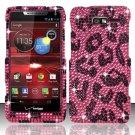 Hard Plastic Snap On Bling Case for Motorola Droid RAZR M 4G LTE XT907 (Verizon) - Hot Pink Leopard