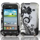 Hard Plastic Snap On Case Cover for Samsung Galaxy Rugby Pro i547 (AT&T) – Black Vines