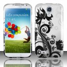 Hard Plastic Rubberized Snap On Case Cover for Samsung Galaxy S4 IV i9500 – Silver Black Vines