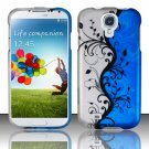 Hard Plastic Rubberized Snap On Case Cover for Samsung Galaxy S4 IV i9500 – Silver & Blue Vines
