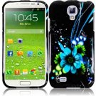 Hard Plastic Snap On Design Case Cover for Samsung Galaxy S4 IV i9500 – Black and Blue Flower