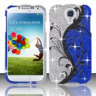 Hard Plastic Snap On Bling Case Cover for Samsung Galaxy S4 IV i9500 – Blue Vines