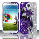 Hard Plastic Snap On Bling Case Cover for Samsung Galaxy S4 IV i9500 – Purple Vines