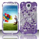 Hard Plastic Snap On Bling Case Cover for Samsung Galaxy S4 IV i9500  Purple & Silver