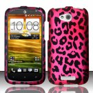 Hard Plastic Snap On Rubberized Design Case Cover for HTC One VX (AT&T) – Hot Pink Leopard