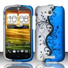Hard Plastic Snap On Rubberized Design Case Cover for HTC One VX (AT&T) – Silver & Blue Vines