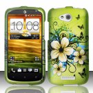 Hard Plastic Snap On Rubberized Design Case Cover for HTC One VX (AT&T) – Flowers & Butterfly