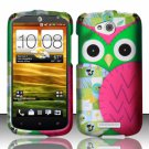 Hard Plastic Snap On Rubberized Design Case Cover for HTC One VX (AT&T) - Starry Green Owl