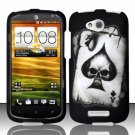 Hard Plastic Snap On Rubberized Design Case Cover for HTC One VX (AT&T) - Ace Spade Skull