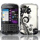 Hard Plastic Snap On Case Cover for Blackberry Q10 (AT&T/Sprint/T-Mobile/Verizon) - Black Vines