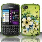 Hard Plastic Snap On Case Cover Blackberry Q10 (AT&T/Sprint/T-Mobile/Verizon) - Flowers Butterfly