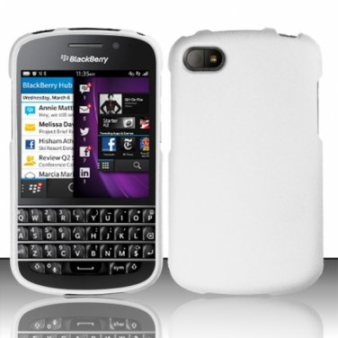 Hard Plastic Snap On Case Cover Blackberry Q10 (AT&T/Sprint/T-Mobile/Verizon) - White