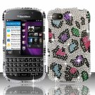 Hard Plastic Snap On Bling Case for Blackberry Q10 (AT&T/Sprint/T-Mobile/Verizon) - Rainbow Leopard