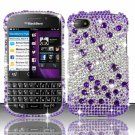 Hard Plastic Snap On Bling Case for Blackberry Q10 (AT&T/Sprint/T-Mobile/Verizon) - Purple & Silver