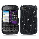 Hard Plastic Snap On Bling Case Cover Blackberry Q10 (AT&T/Sprint/T-Mobile/Verizon) - Black Diamond