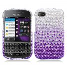 Hard Plastic Snap On Bling Case for Blackberry Q10 (AT&T/Sprint/T-Mobile/Verizon) - Purple Waterfall