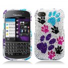 Hard Plastic Snap On Bling Case Cover for Blackberry Q10 (AT&T/Sprint/T-Mobile/Verizon) - Dog Paws