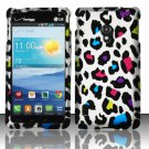 Cell Phone Case Cover Snap On for LG Lucid 2 VS870 (Verizon) - Rainbow Leopard + Screen Protector