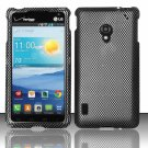 Cell Phone Case Cover Snap On for LG Lucid 2 VS870 (Verizon) - Carbon Fiber + Screen Protector