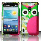 Cell Phone Case Cover Snap On for LG Lucid 2 VS870 (Verizon) - Starry Green Owl + Screen Protector