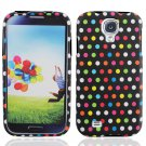 Hard Plastic Rubberized Snap On Case Cover for Samsung Galaxy S4 IV i9500 - Rainbow Dots