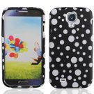 Hard Plastic Rubberized Snap On Case Cover for Samsung Galaxy S4 IV i9500 - Black & White Dots