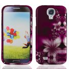 Hard Plastic Rubberized Snap On Case Cover for Samsung Galaxy S4 IV i9500 - Feather Leaves