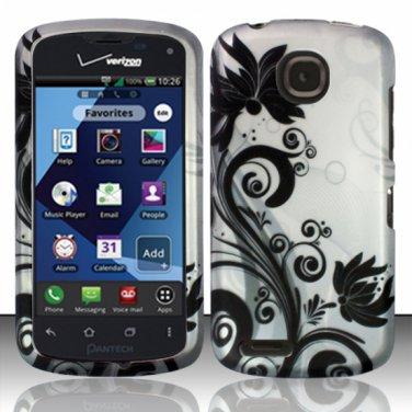 Cell Phone Case Cover Hard Plastic Snap On for Pantech Marauder ADR910L (Verizon) - Black Vines
