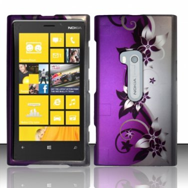 Cell Phone Case Cover Hard Plastic Snap On for Nokia Lumia 920 (AT&T) � Silver & Purple Vines