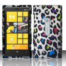 Cell Phone Case Cover Hard Plastic Snap On for Nokia Lumia 920 (AT&T) – Rainbow Leopard