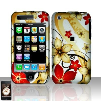 Hard Rubber Feel Plastic Design Case For Apple iPhone 3g/3gs - Red and Gold Flowers