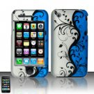 Hard Rubber Feel Plastic Design Case For Apple iPhone 3g/3gs  - Silver and Blue Vines