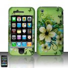 Hard Rubber Feel Plastic Design Case For Apple iPhone 3g/3gs - Green Butterfly Flowers