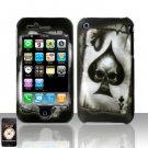 Hard Rubber Feel Plastic Design Case For Apple iPhone 3g/3gs  - Ace of Spade Skull