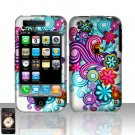 Hard Rubber Feel Plastic Design Case For Apple iPhone 3g/3gs  - Purple and Blue Flowers