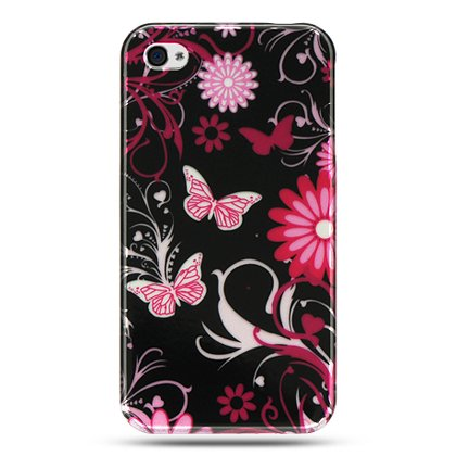Hard Plastic Design Case For Apple iPhone 4G  - Pink Butterfly