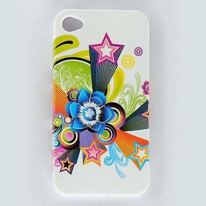 Hard Plastic Design Case For Apple iPhone 4G - White Flower Stars