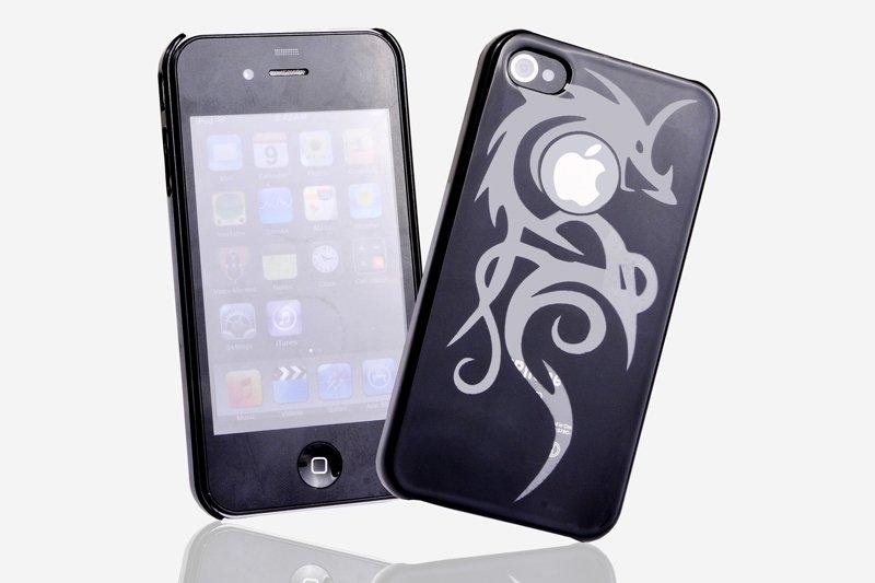 Hard Plastic Dragon Design Back Cover Case For Apple iPhone 4G - Black