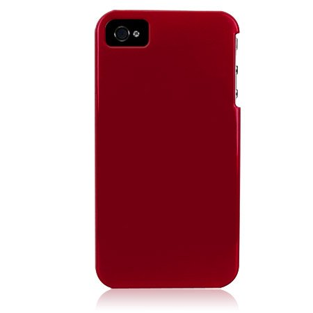Hard Plastic Glossy Back Cover Case For Apple iPhone 4G  - Red