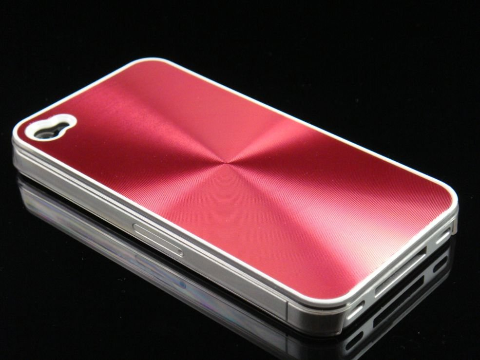 Hard Plastic Aluminum Finish Back Cover Case For Apple iPhone 4G - Red