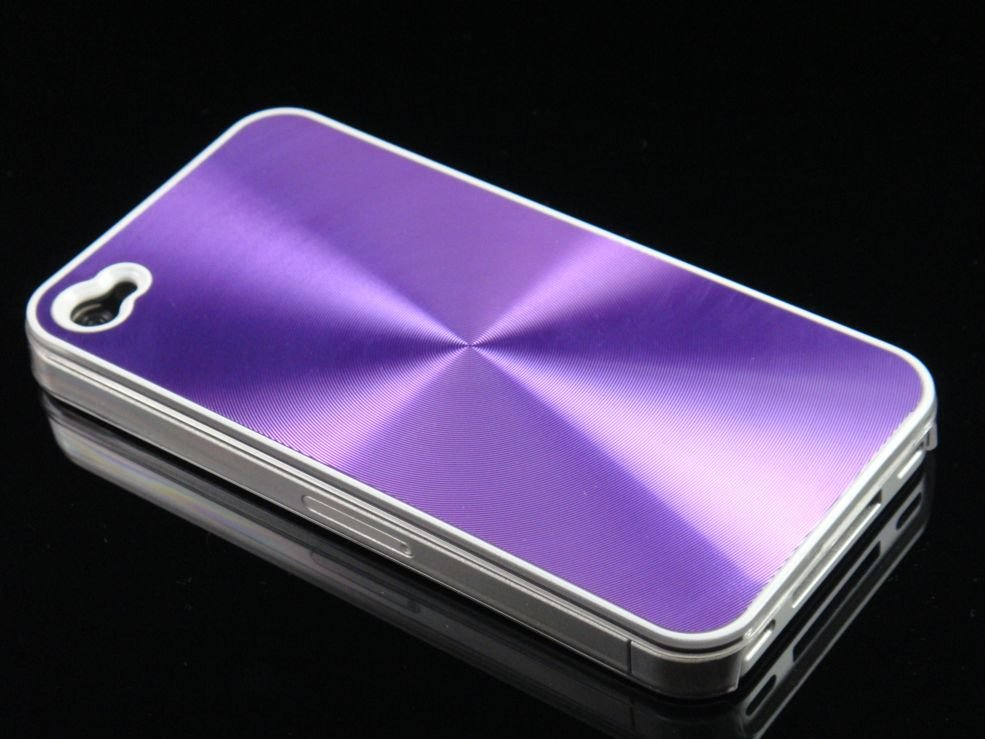 Hard Plastic Aluminum Finish Back Cover Case For Apple iPhone 4G - Purple