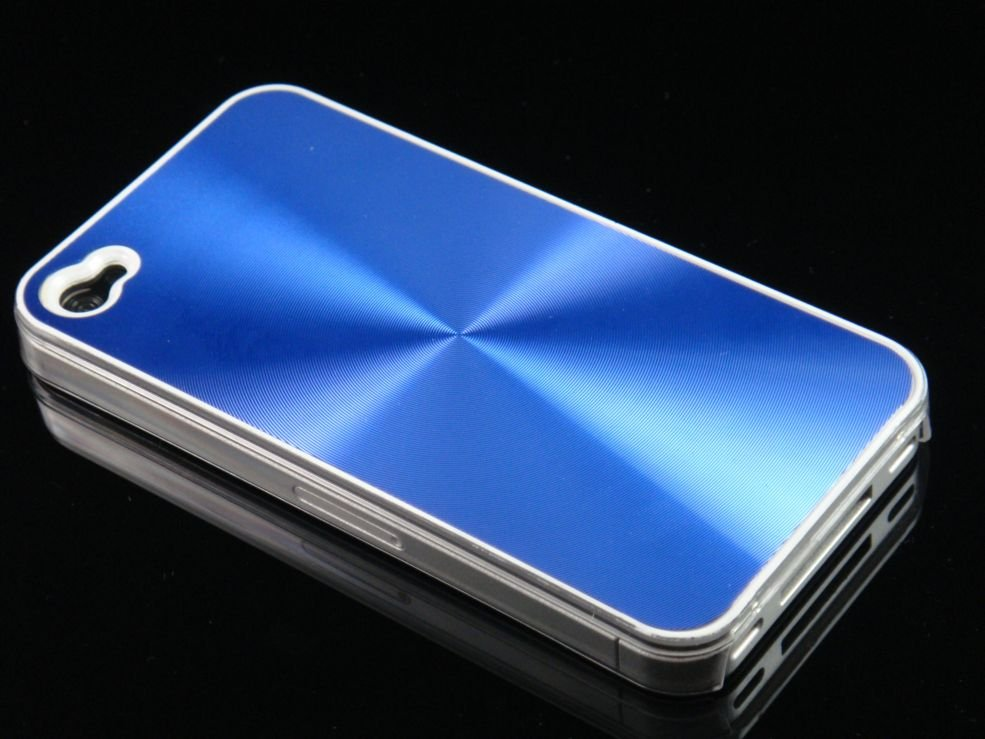 Hard Plastic Aluminum Finish Back Cover Case For Apple iPhone 4G - Blue