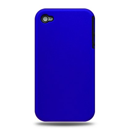 2-in-1 Hard Plastic Back Cover Case + Black Silicone Skin For Apple iPhone 4G  - Blue