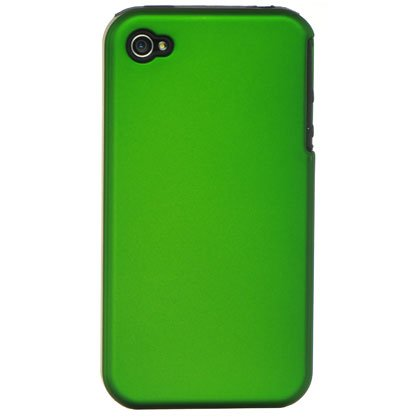 2-in-1 Hard Plastic Back Cover Case + Black Silicone Skin For Apple iPhone 4G - Green