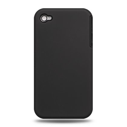 2-in-1 Hard Plastic Back Cover Case + Black Silicone Skin For Apple iPhone 4G  - Black