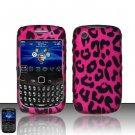 Hard Plastic Rubber Feel Design Case For Blackberry Curve 8520 - Hot Pink Leopard
