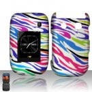 Hard Plastic Rubber Feel Design Case For Blackberry Style 9670 - Rainbow Zebra