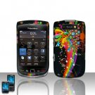 Hard Plastic Rubber Feel Design Case For Blackberry Torch 9800 - Rainbow Symphony