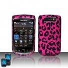 Hard Plastic Rubber Feel Design Case For Blackberry Torch 9800 - Hot Pink Leopard